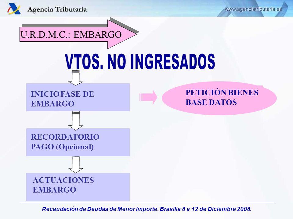 Recaudación de Deudas de Menor Importe. Brasilia 8 a 12 de Diciembre 2008. PETICIÓN BIENES BASE DATOS ACTUACIONES EMBARGO RECORDATORIO PAGO (Opcional)