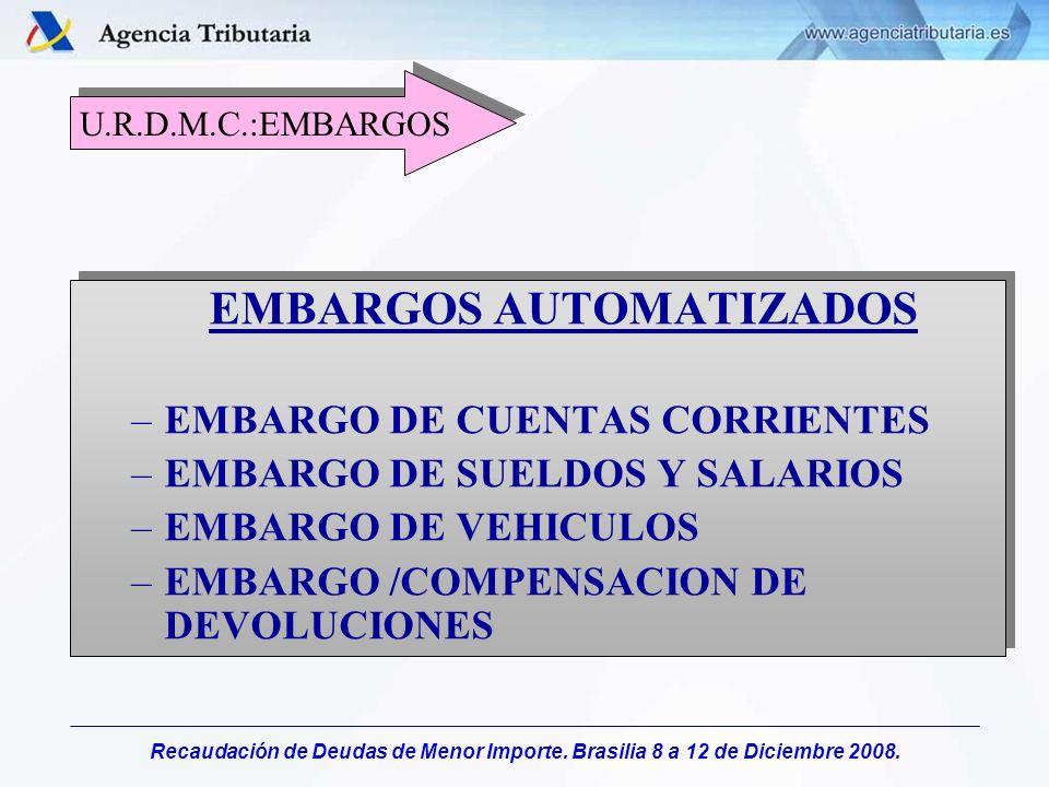 Recaudación de Deudas de Menor Importe. Brasilia 8 a 12 de Diciembre 2008. EMBARGOS AUTOMATIZADOS –EMBARGO DE CUENTAS CORRIENTES –EMBARGO DE SUELDOS Y