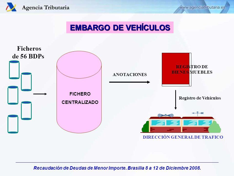 Recaudación de Deudas de Menor Importe. Brasilia 8 a 12 de Diciembre 2008. EMBARGO DE VEHÍCULOS Ficheros de 56 BDPs FICHERO CENTRALIZADO DIRECCIÓN GEN