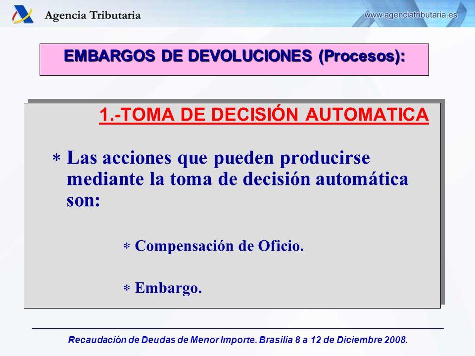 Recaudación de Deudas de Menor Importe. Brasilia 8 a 12 de Diciembre 2008. EMBARGOS DE DEVOLUCIONES (Procesos): 1.-TOMA DE DECISIÓN AUTOMATICA Las acc