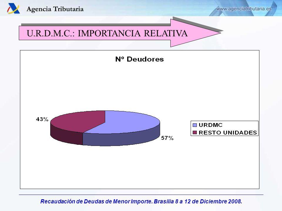 Recaudación de Deudas de Menor Importe. Brasilia 8 a 12 de Diciembre 2008. U.R.D.M.C.: IMPORTANCIA RELATIVA