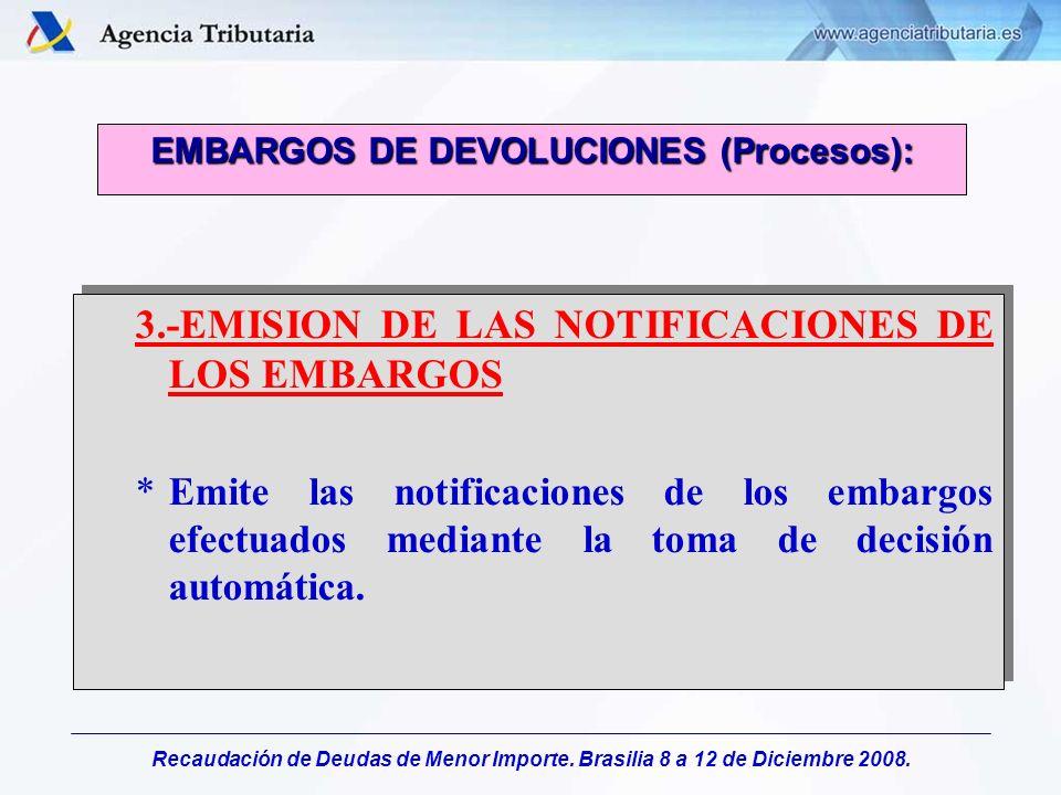 Recaudación de Deudas de Menor Importe. Brasilia 8 a 12 de Diciembre 2008. 3.-EMISION DE LAS NOTIFICACIONES DE LOS EMBARGOS *Emite las notificaciones