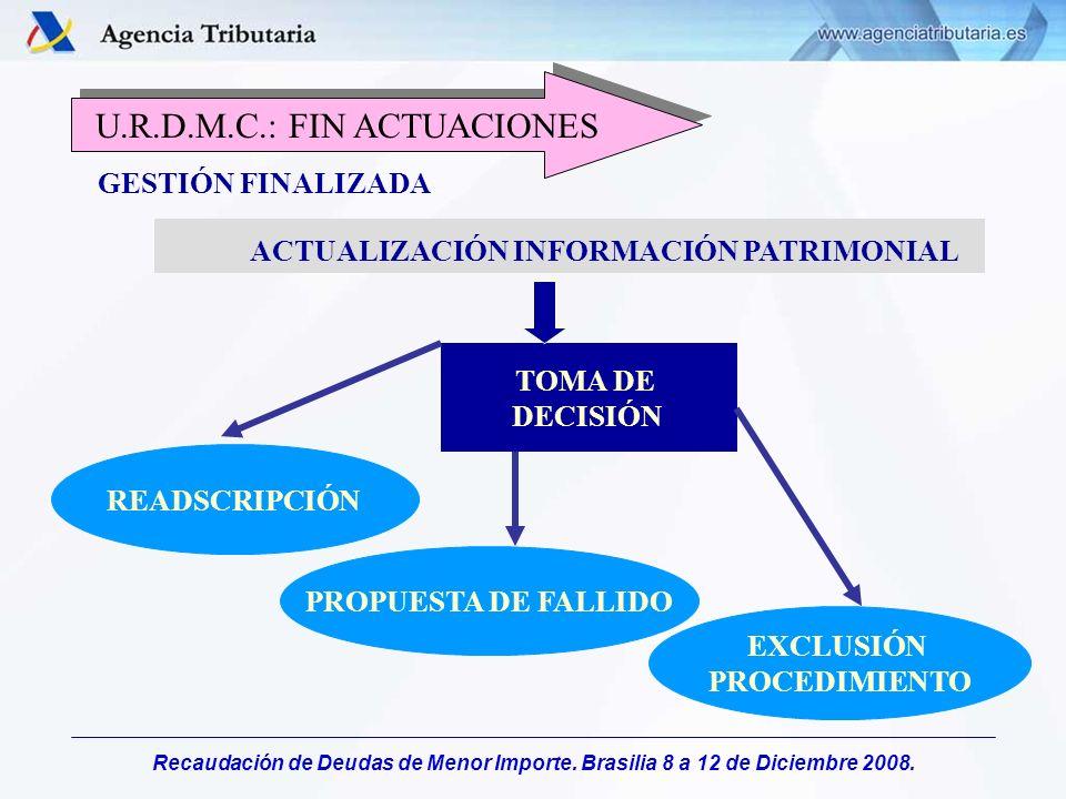 Recaudación de Deudas de Menor Importe. Brasilia 8 a 12 de Diciembre 2008. TOMA DE DECISIÓN ACTUALIZACIÓN INFORMACIÓN PATRIMONIAL READSCRIPCIÓN PROPUE