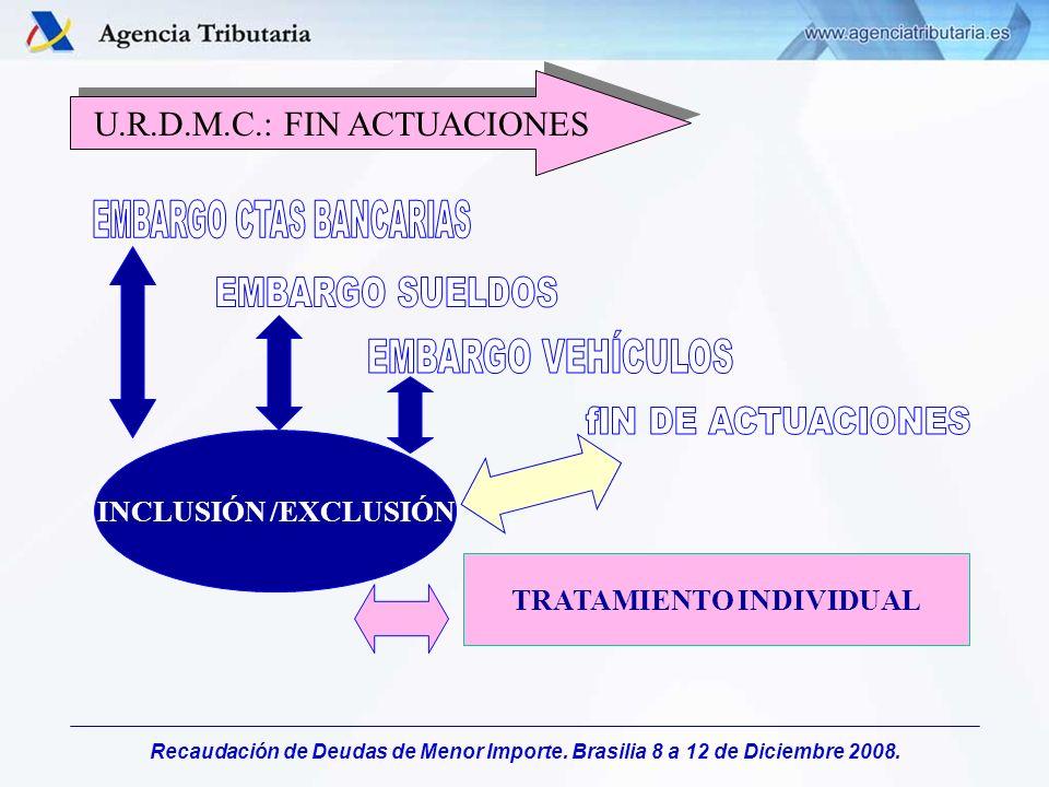 Recaudación de Deudas de Menor Importe. Brasilia 8 a 12 de Diciembre 2008. INCLUSIÓN /EXCLUSIÓN TRATAMIENTO INDIVIDUAL U.R.D.M.C.: FIN ACTUACIONES