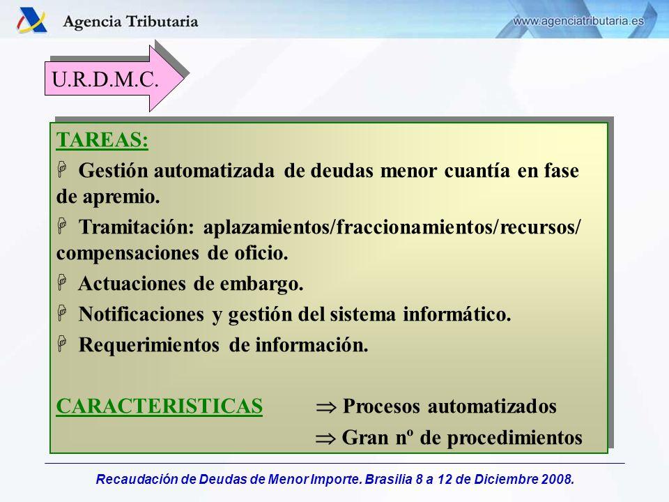 Recaudación de Deudas de Menor Importe. Brasilia 8 a 12 de Diciembre 2008. TAREAS: H Gestión automatizada de deudas menor cuantía en fase de apremio.