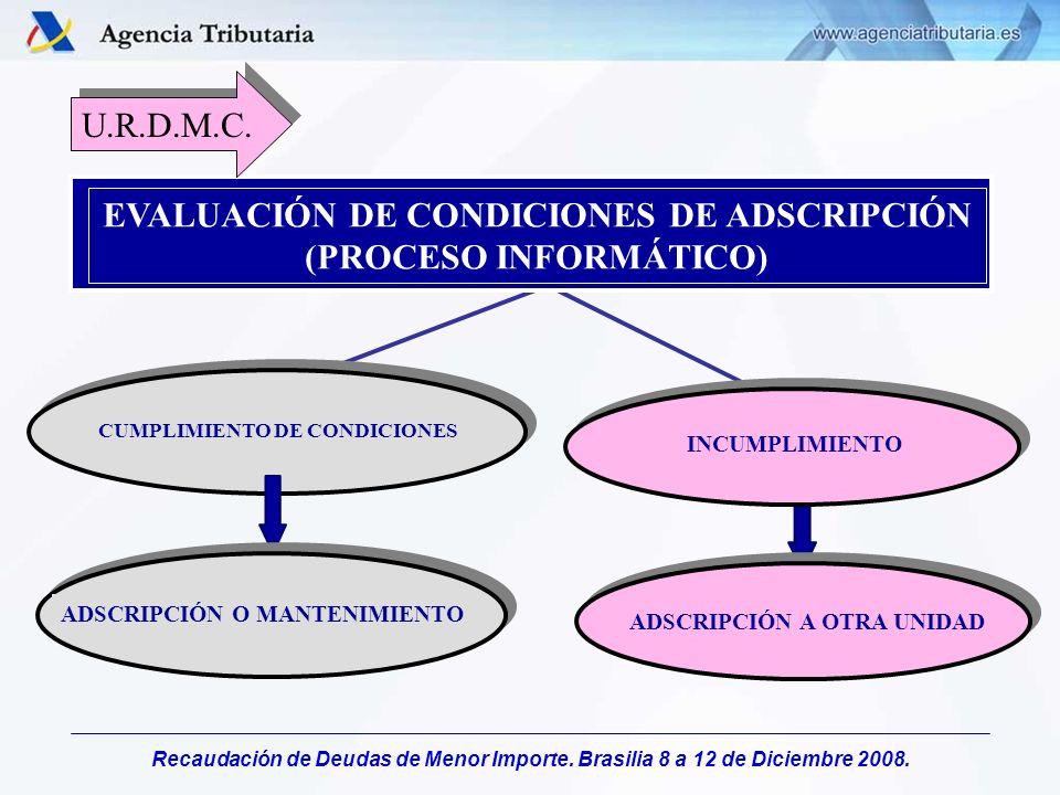 Recaudación de Deudas de Menor Importe. Brasilia 8 a 12 de Diciembre 2008. EVALUACIÓN DE CONDICIONES DE ADSCRIPCIÓN (PROCESO INFORMÁTICO) CUMPLIMIENTO