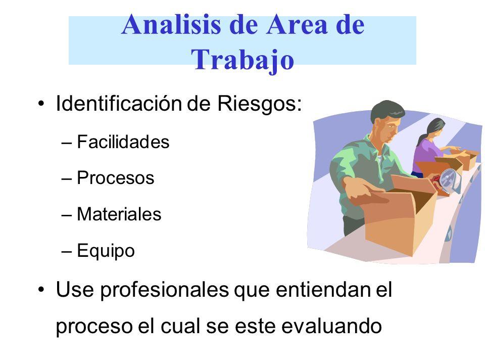 Analisis de Area de Trabajo Identificación de Riesgos: –Facilidades –Procesos –Materiales –Equipo Use profesionales que entiendan el proceso el cual s