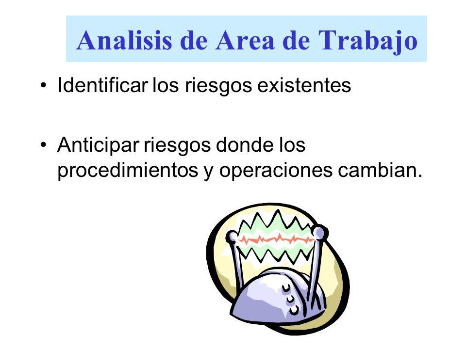 Analisis de Area de Trabajo Identificar los riesgos existentes Anticipar riesgos donde los procedimientos y operaciones cambian.