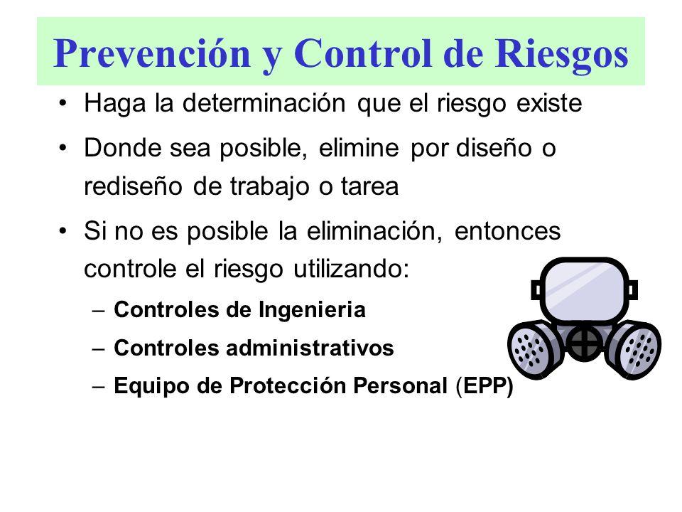 Prevención y Control de Riesgos Haga la determinación que el riesgo existe Donde sea posible, elimine por diseño o rediseño de trabajo o tarea Si no e