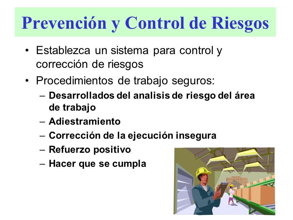 Prevención y Control de Riesgos Establezca un sistema para control y corrección de riesgos Procedimientos de trabajo seguros: –Desarrollados del anali