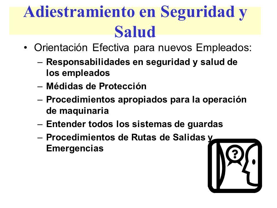 Adiestramiento en Seguridad y Salud Orientación Efectiva para nuevos Empleados: –Responsabilidades en seguridad y salud de los empleados –Médidas de P