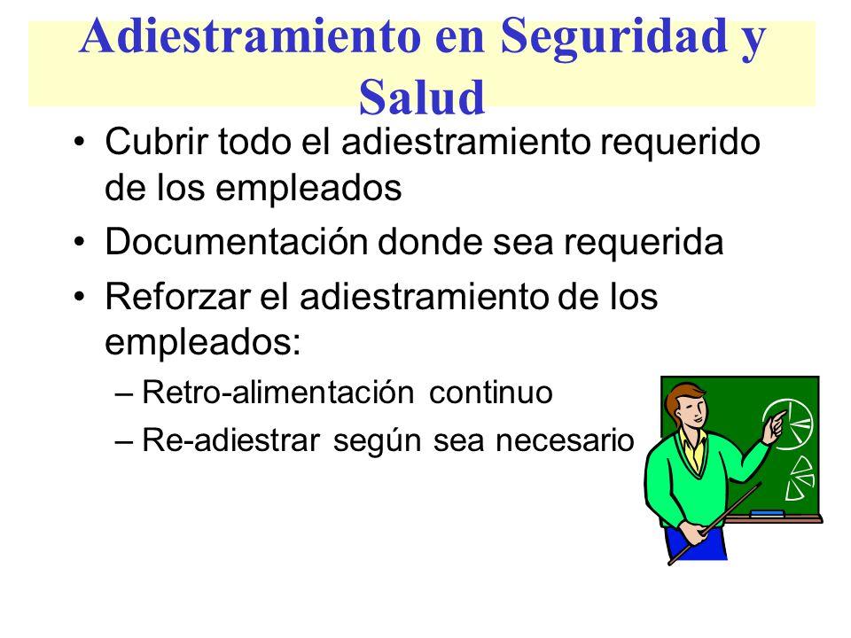 Adiestramiento en Seguridad y Salud Cubrir todo el adiestramiento requerido de los empleados Documentación donde sea requerida Reforzar el adiestramie
