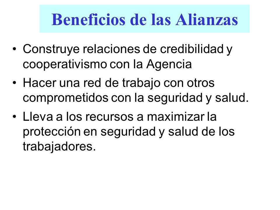 Beneficios de las Alianzas Construye relaciones de credibilidad y cooperativismo con la Agencia Hacer una red de trabajo con otros comprometidos con l