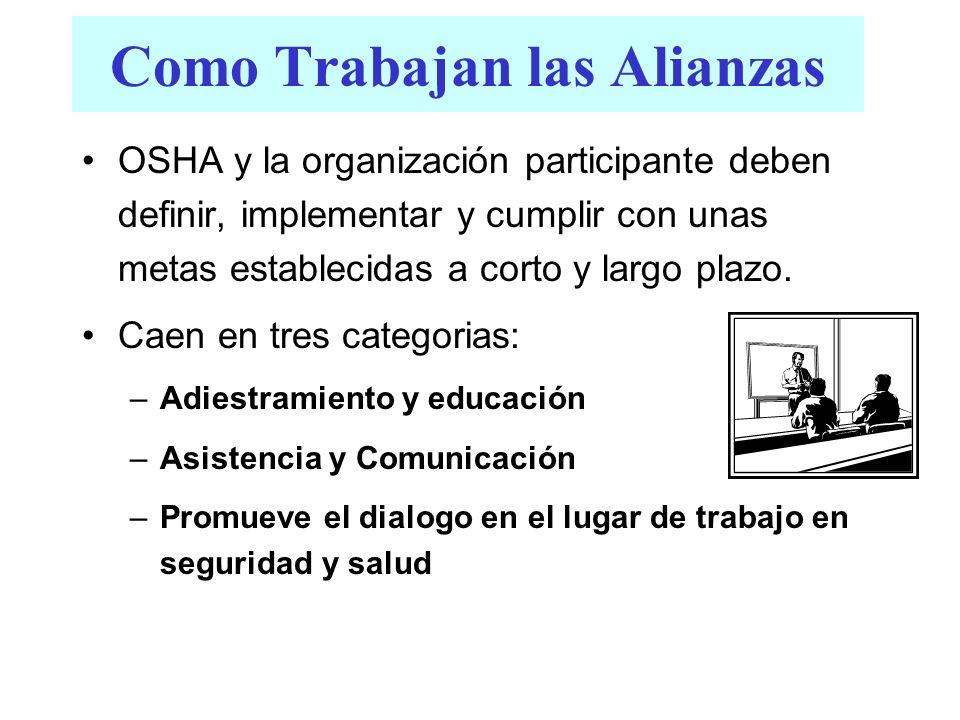 Como Trabajan las Alianzas OSHA y la organización participante deben definir, implementar y cumplir con unas metas establecidas a corto y largo plazo.