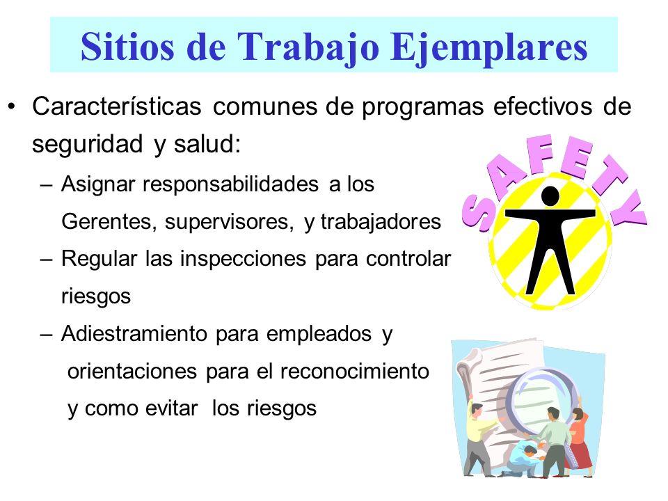 Sitios de Trabajo Ejemplares Características comunes de programas efectivos de seguridad y salud: –Asignar responsabilidades a los Gerentes, superviso