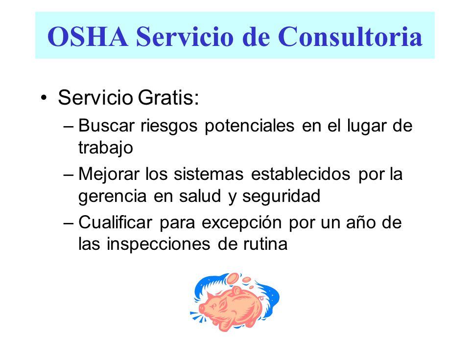 OSHA Servicio de Consultoria Servicio Gratis: –Buscar riesgos potenciales en el lugar de trabajo –Mejorar los sistemas establecidos por la gerencia en