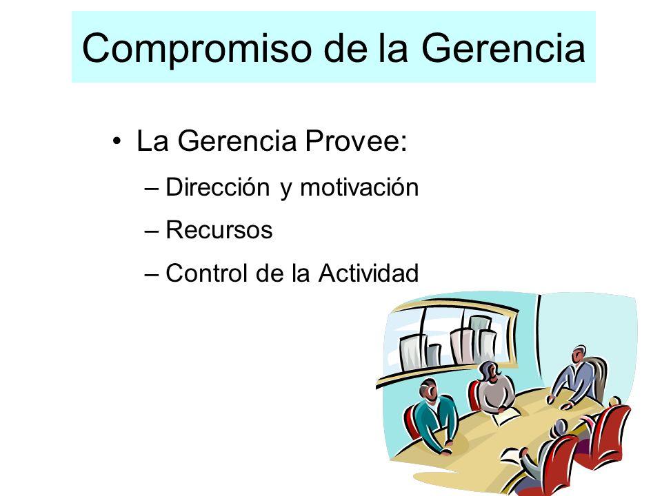 Compromiso de la Gerencia La Gerencia Provee: –Dirección y motivación –Recursos –Control de la Actividad