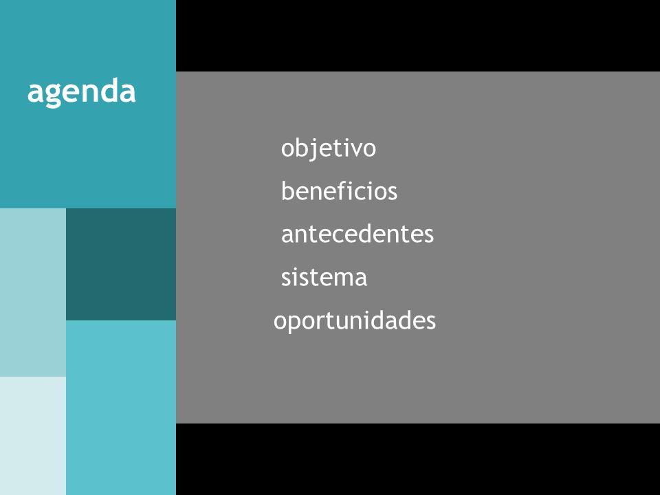 objetivo beneficios antecedentes sistema oportunidades agenda