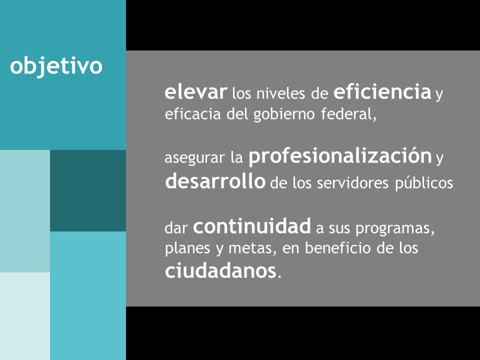 elevar los niveles de eficiencia y eficacia del gobierno federal, asegurar la profesionalización y desarrollo de los servidores públicos dar continuid