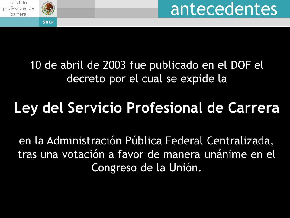 talent servicio profesional de carrera antecedentes 10 de abril de 2003 fue publicado en el DOF el decreto por el cual se expide la Ley del Servicio P
