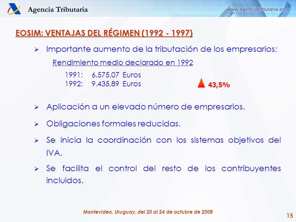 15 Montevideo, Uruguay, del 20 al 24 de octubre de 2008 EOSIM: VENTAJAS DEL RÉGIMEN (1992 - 1997) Importante aumento de la tributación de los empresar