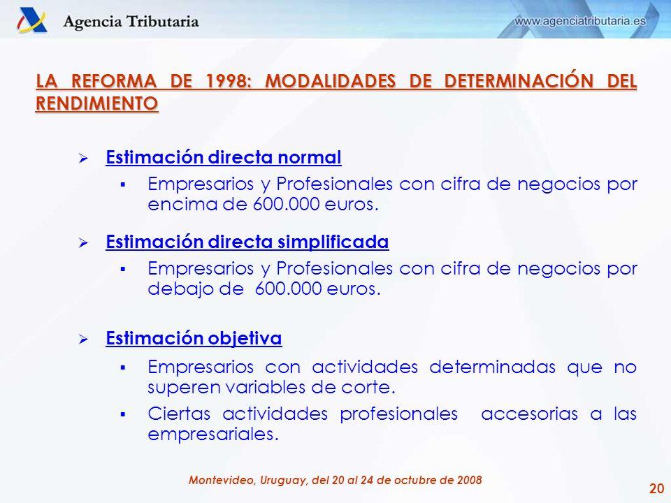 20 Montevideo, Uruguay, del 20 al 24 de octubre de 2008 LA REFORMA DE 1998: MODALIDADES DE DETERMINACIÓN DEL RENDIMIENTO Estimación directa normal Emp