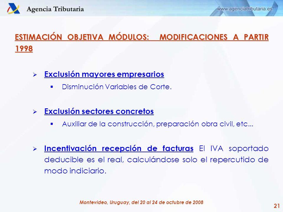 21 Montevideo, Uruguay, del 20 al 24 de octubre de 2008 ESTIMACIÓN OBJETIVA MÓDULOS: MODIFICACIONES A PARTIR 1998 Exclusión mayores empresarios Dismin