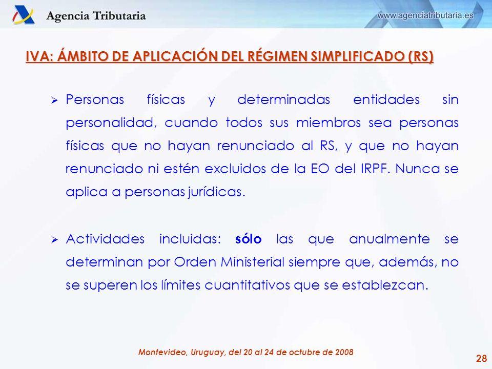 28 Montevideo, Uruguay, del 20 al 24 de octubre de 2008 IVA: ÁMBITO DE APLICACIÓN DEL RÉGIMEN SIMPLIFICADO (RS) Personas físicas y determinadas entida