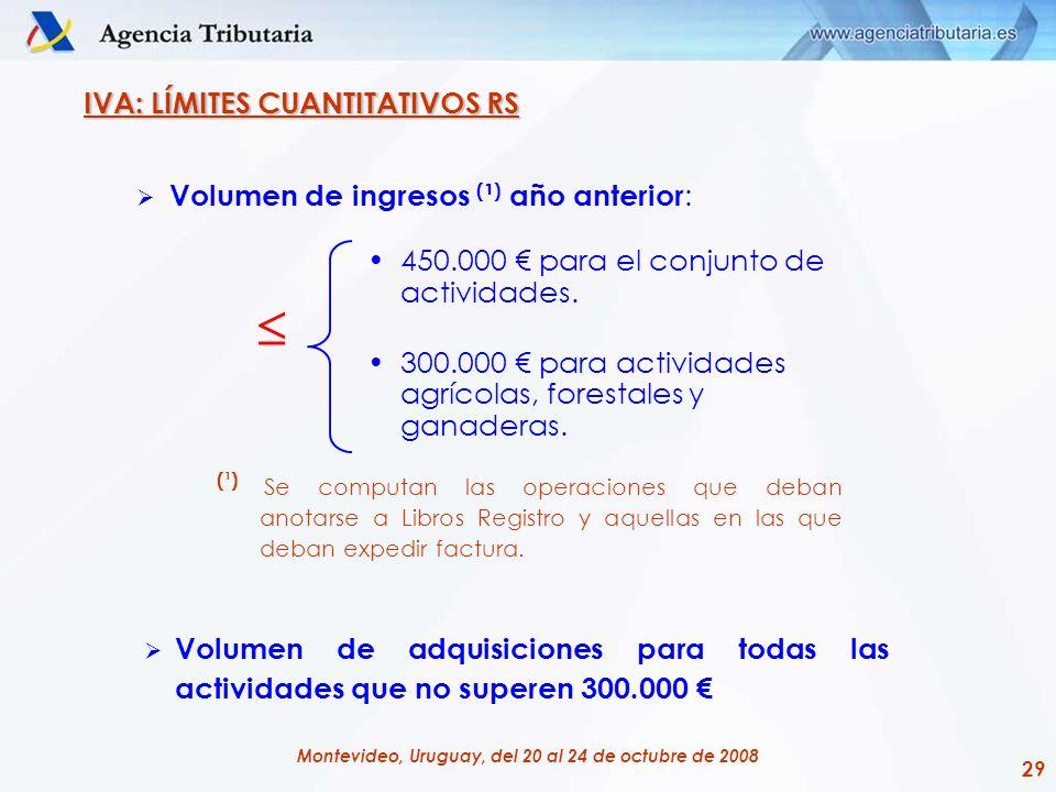 29 Montevideo, Uruguay, del 20 al 24 de octubre de 2008 IVA: LÍMITES CUANTITATIVOS RS Volumen de ingresos ( ¹ ) año anterior : (¹) Se computan las ope