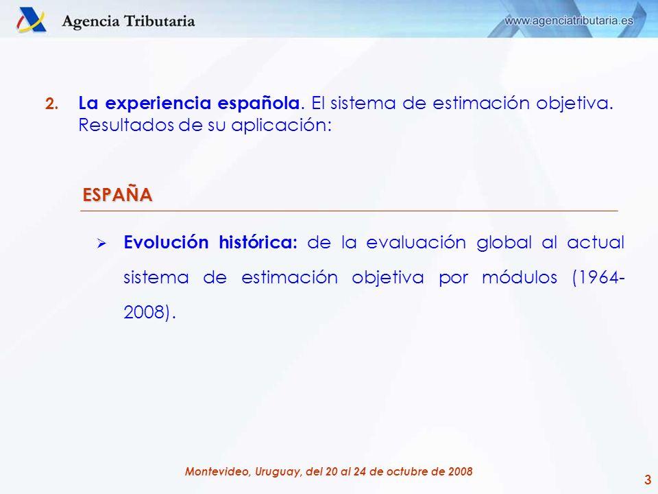 3 Montevideo, Uruguay, del 20 al 24 de octubre de 2008 2. La experiencia española. El sistema de estimación objetiva. Resultados de su aplicación: ESP
