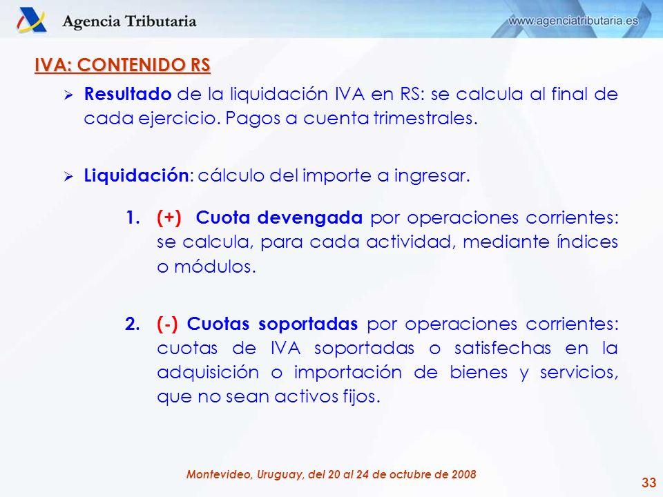 33 Montevideo, Uruguay, del 20 al 24 de octubre de 2008 IVA: CONTENIDO RS Resultado de la liquidación IVA en RS: se calcula al final de cada ejercicio