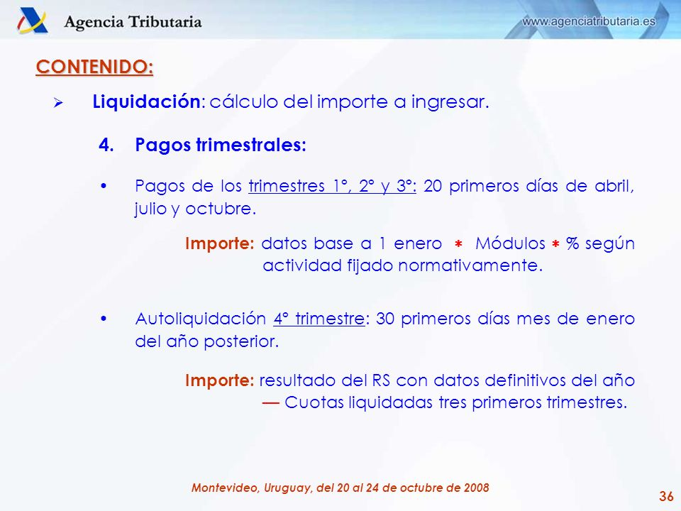 36 Montevideo, Uruguay, del 20 al 24 de octubre de 2008 CONTENIDO: Liquidación : cálculo del importe a ingresar. 4.Pagos trimestrales: Pagos de los tr