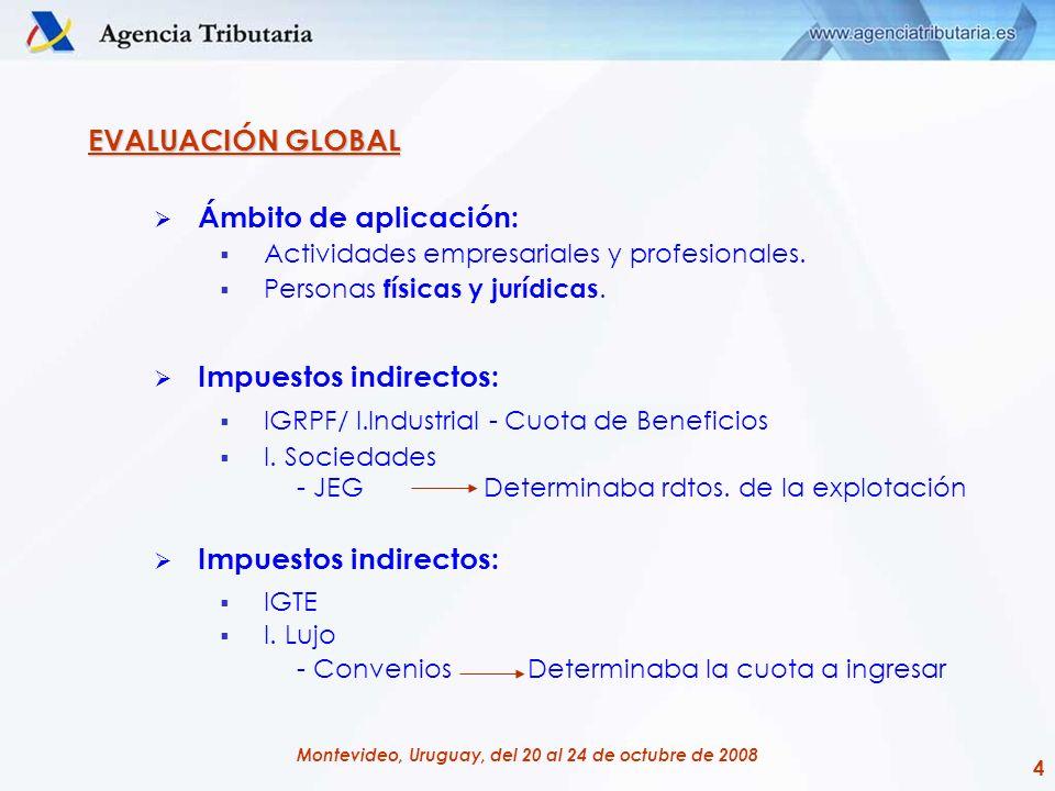 4 Montevideo, Uruguay, del 20 al 24 de octubre de 2008 EVALUACIÓN GLOBAL Ámbito de aplicación: Actividades empresariales y profesionales. Personas fís