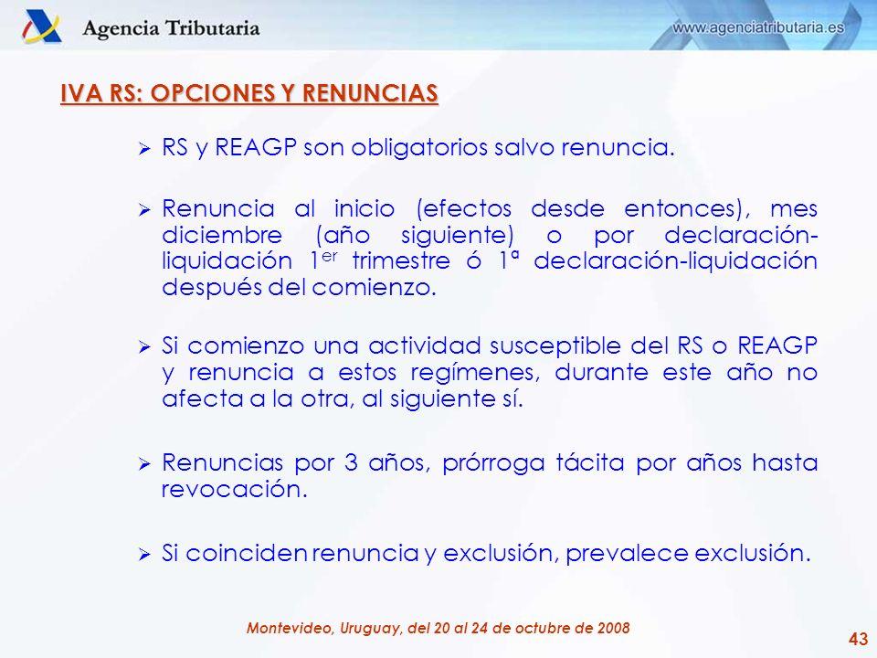 43 Montevideo, Uruguay, del 20 al 24 de octubre de 2008 IVA RS: OPCIONES Y RENUNCIAS RS y REAGP son obligatorios salvo renuncia. Renuncia al inicio (e