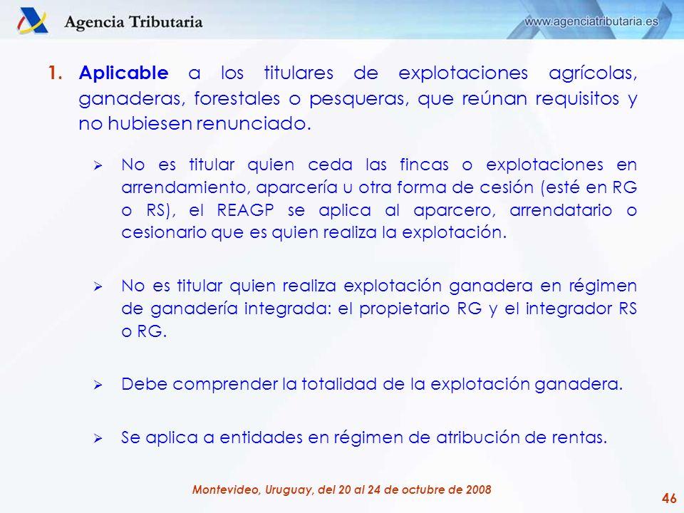 46 Montevideo, Uruguay, del 20 al 24 de octubre de 2008 1.Aplicable a los titulares de explotaciones agrícolas, ganaderas, forestales o pesqueras, que