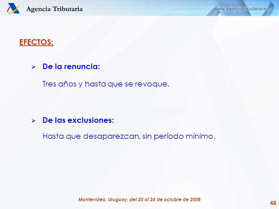 48 Montevideo, Uruguay, del 20 al 24 de octubre de 2008 EFECTOS: De la renuncia: Tres años y hasta que se revoque. De las exclusiones: Hasta que desap