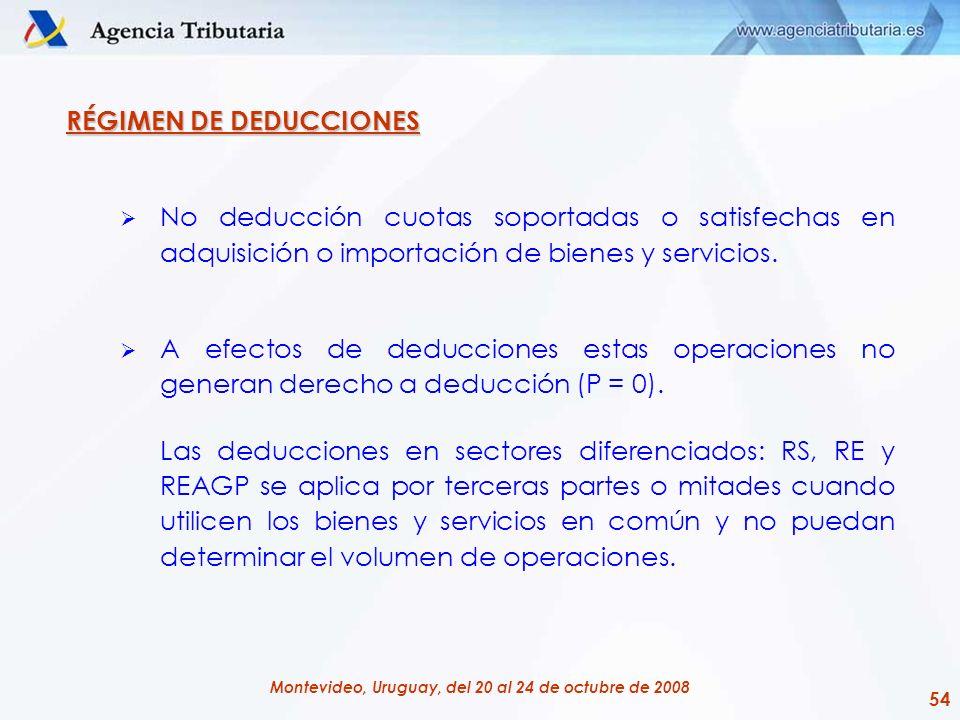 54 Montevideo, Uruguay, del 20 al 24 de octubre de 2008 RÉGIMEN DE DEDUCCIONES No deducción cuotas soportadas o satisfechas en adquisición o importaci