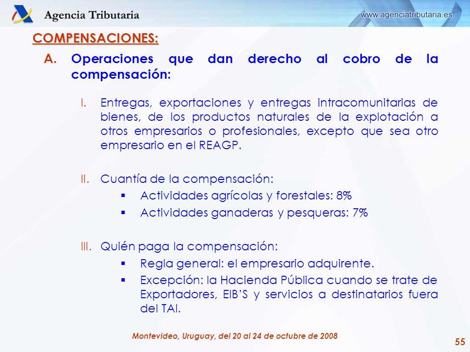 55 Montevideo, Uruguay, del 20 al 24 de octubre de 2008 COMPENSACIONES: A.Operaciones que dan derecho al cobro de la compensación: I.Entregas, exporta
