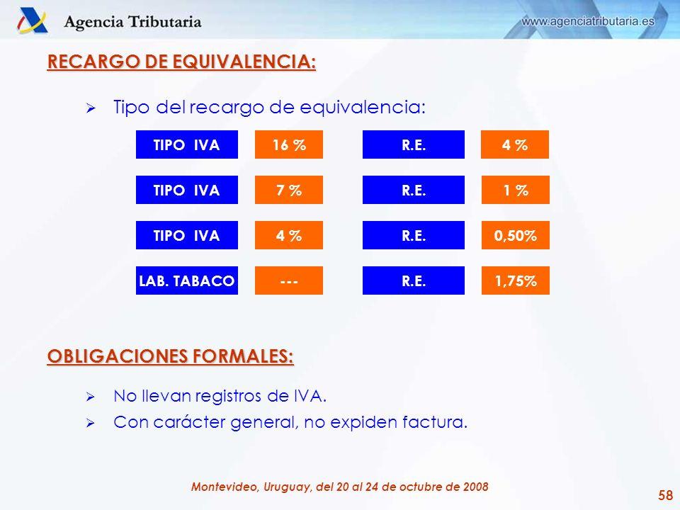 58 Montevideo, Uruguay, del 20 al 24 de octubre de 2008 RECARGO DE EQUIVALENCIA: Tipo del recargo de equivalencia: OBLIGACIONES FORMALES: No llevan re