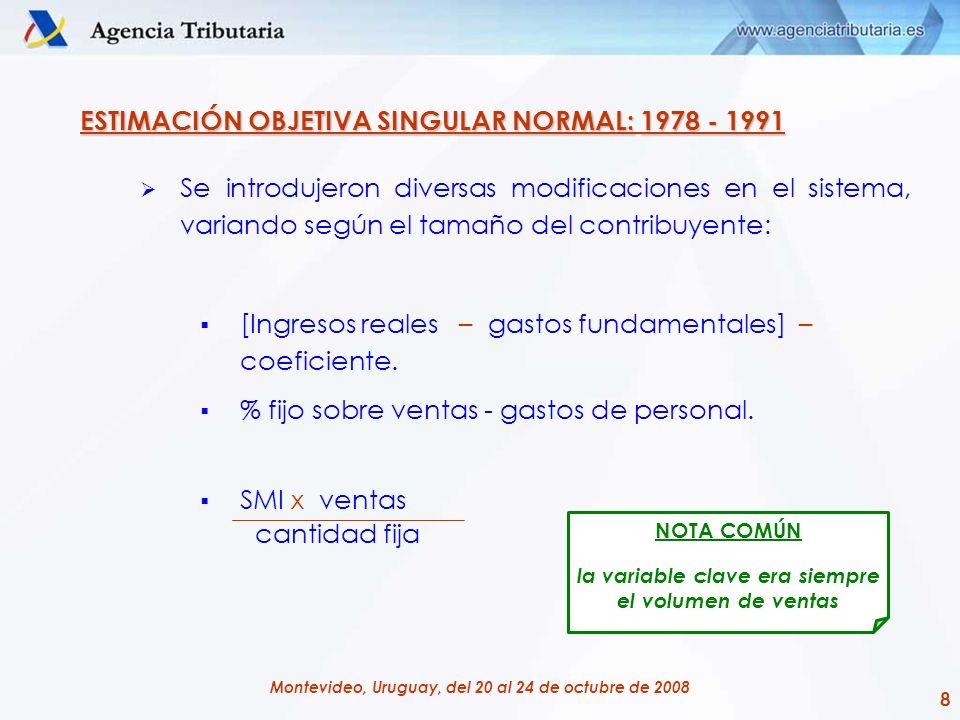 8 Montevideo, Uruguay, del 20 al 24 de octubre de 2008 ESTIMACIÓN OBJETIVA SINGULAR NORMAL:1978 - 1991 ESTIMACIÓN OBJETIVA SINGULAR NORMAL: 1978 - 199