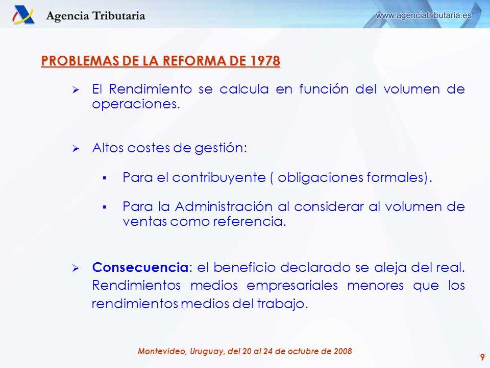 20 Montevideo, Uruguay, del 20 al 24 de octubre de 2008 LA REFORMA DE 1998: MODALIDADES DE DETERMINACIÓN DEL RENDIMIENTO Estimación directa normal Empresarios y Profesionales con cifra de negocios por encima de 600.000 euros.