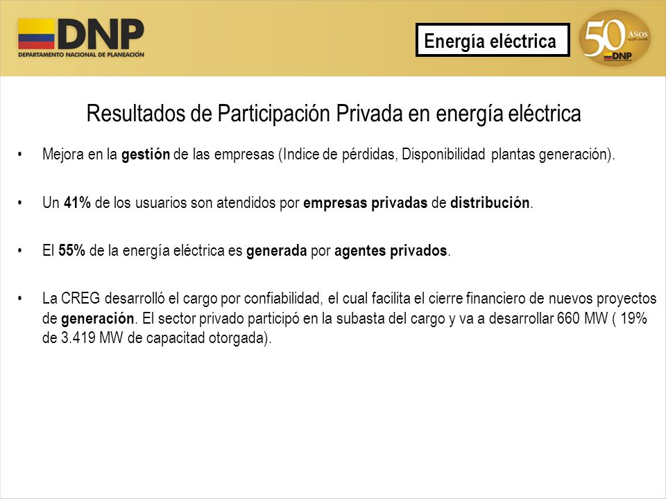 Resultados de Participación Privada en energía eléctrica Mejora en la gestión de las empresas (Indice de pérdidas, Disponibilidad plantas generación).