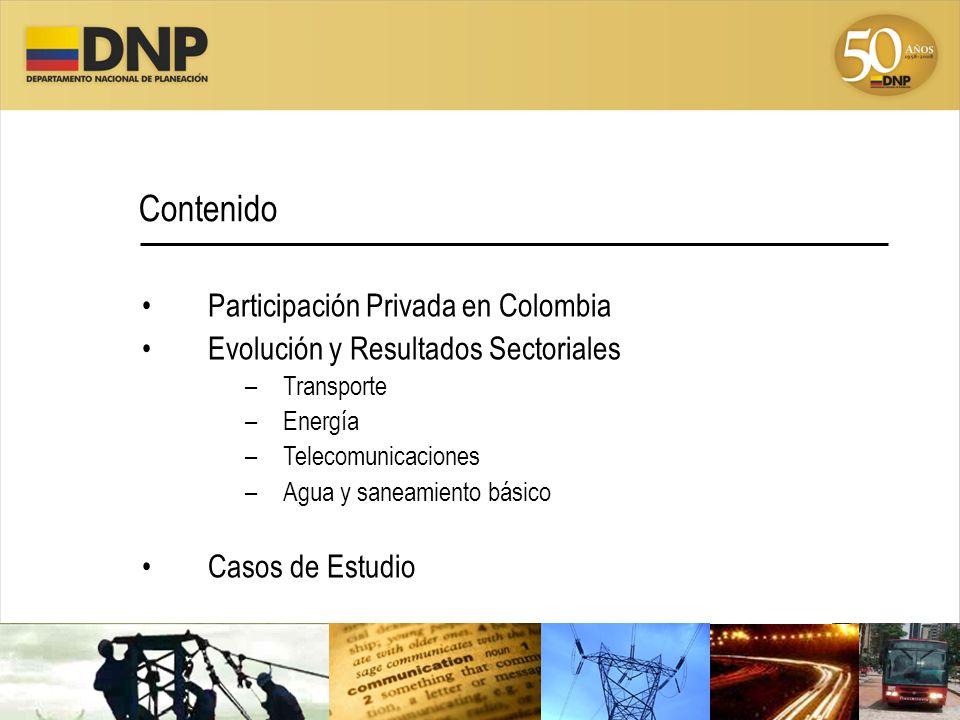 Participación Privada en Colombia Evolución y Resultados Sectoriales –Transporte –Energía –Telecomunicaciones –Agua y saneamiento básico Casos de Estu