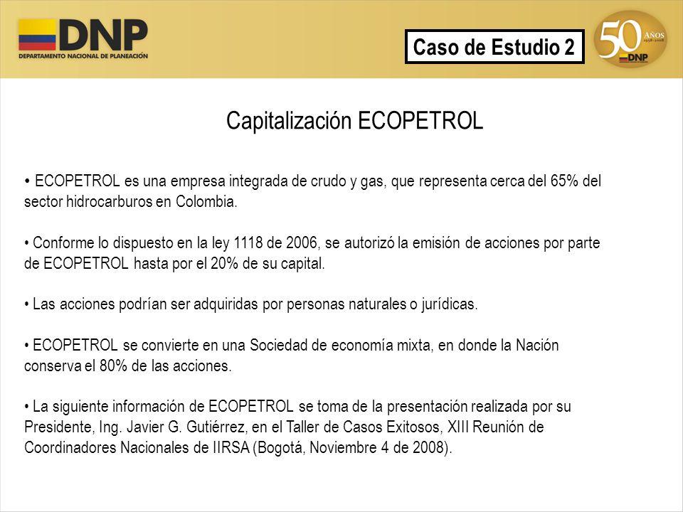 Capitalización ECOPETROL Caso de Estudio 2 ECOPETROL es una empresa integrada de crudo y gas, que representa cerca del 65% del sector hidrocarburos en