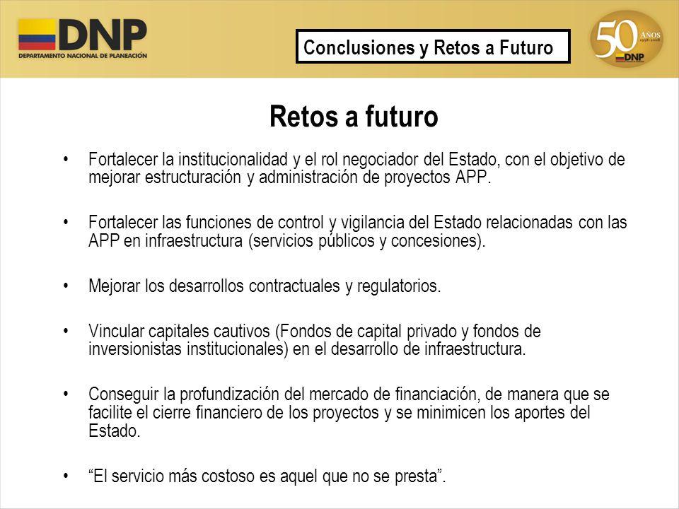 Retos a futuro Fortalecer la institucionalidad y el rol negociador del Estado, con el objetivo de mejorar estructuración y administración de proyectos