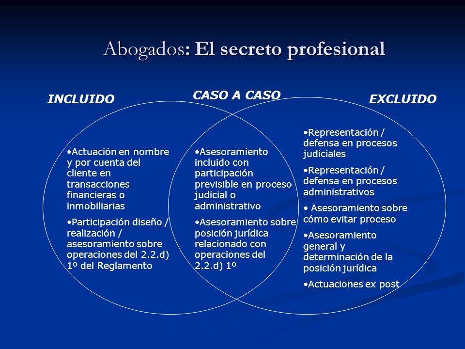 Abogados: El secreto profesional INCLUIDOEXCLUIDO CASO A CASO Representación / defensa en procesos judiciales Representación / defensa en procesos adm