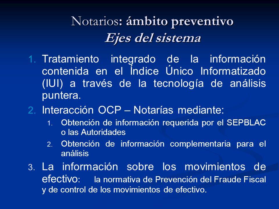 Notarios: ámbito preventivo Ejes del sistema 1. Tratamiento integrado de la información contenida en el Índice Único Informatizado (IUI) a través de l