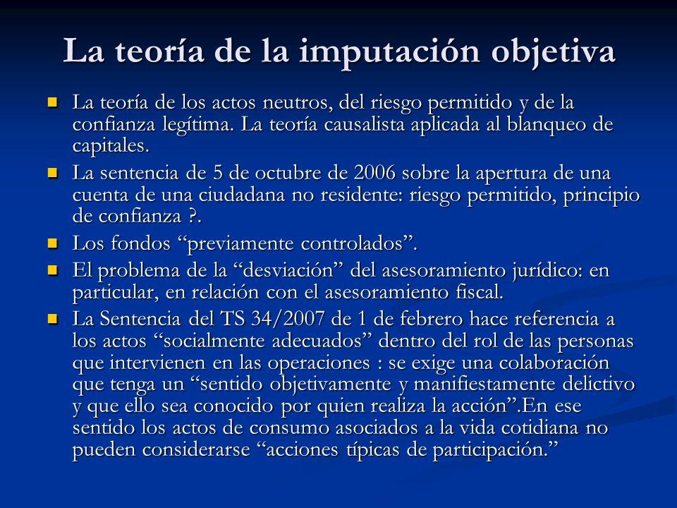 La teoría de la imputación objetiva La teoría de los actos neutros, del riesgo permitido y de la confianza legítima. La teoría causalista aplicada al