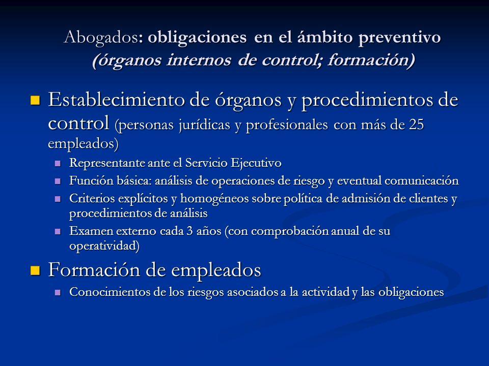 Establecimiento de órganos y procedimientos de control (personas jurídicas y profesionales con más de 25 empleados) Establecimiento de órganos y proce