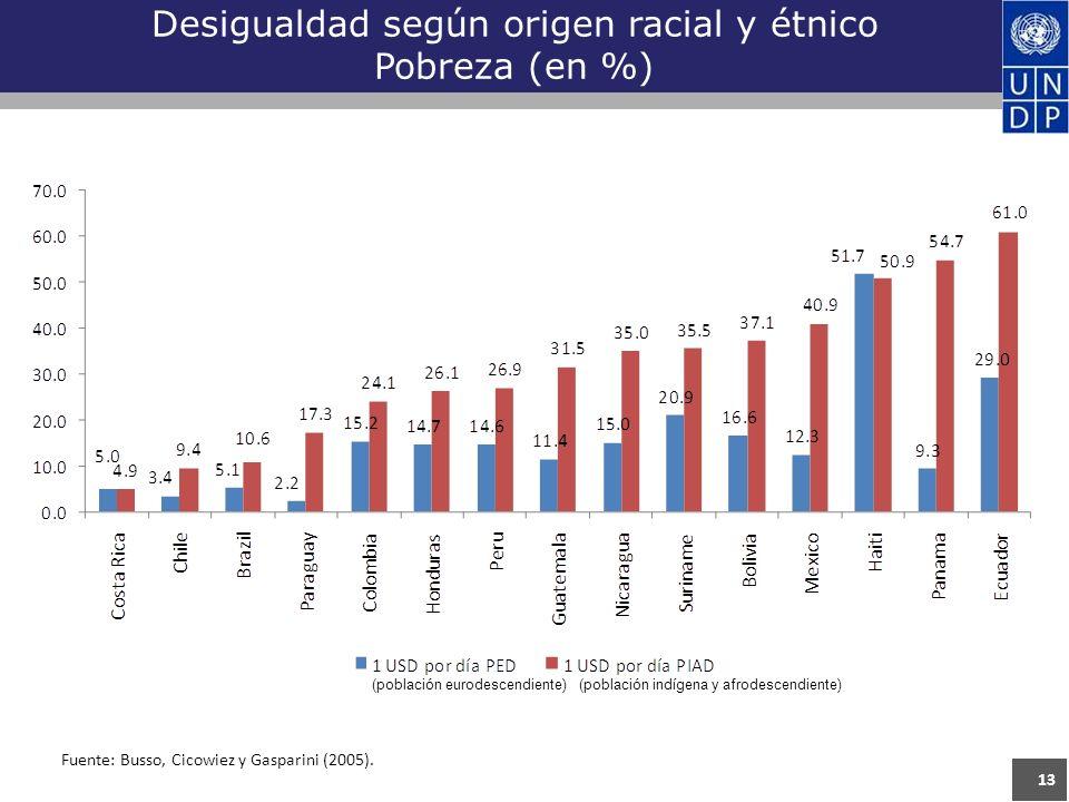 13 Desigualdad según origen racial y étnico Pobreza (en %) Fuente: Busso, Cicowiez y Gasparini (2005).